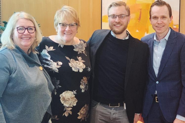Fra venstre: Betty Stefansdottir, Trine S. Grande, Petter Noddeland og Tom Erlend Skaug